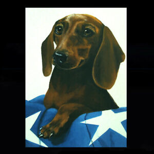 DACHSHUND Print Art Painting Aceo 3.5x2.5 Dog Pup Realism by DFrancis $6.99
