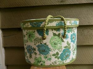Vintage blue green floral Sewing Basket quilted oval storage w insert tray $15.50