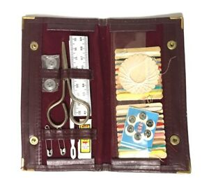Vintage Travel Sewing Kit Red Leather Burgundy Case Checkbook Fold New Old Stock $19.95