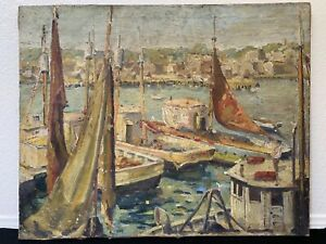 🔥 Antique 19th c. Impressionist Nautical Seascape Oil Painting Mystery Artist $975.00