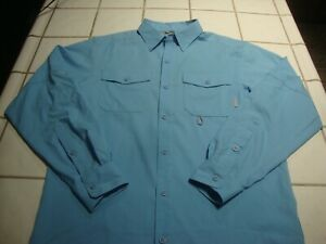 Columbia Omni Shade BABY BLUE Long Sleeve Button Up Shirt Vented Mens Small $19.99