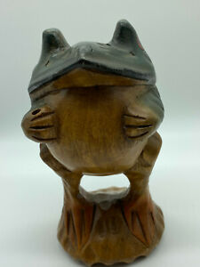 Vintage Hand Carved amp; Hand Painted Wooden FROG Figurine 7quot; tall Antique Lucky
