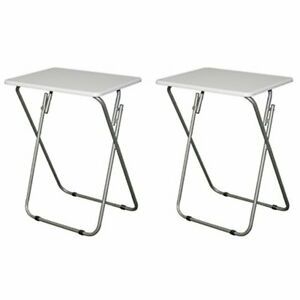 2 Pack Folding TV Snack Dinner Trays Portable Tables Sturdy Metal Base Wood Top $79.99
