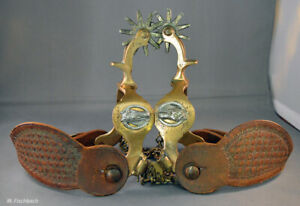 Vintage Anchor Marked North  Judd Brass Horsehead Boot Spurs Pair complete