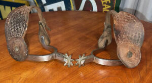 RARE Antique Metal Engraved Mounted Prison Spurs Marked Leather