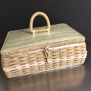 VTG Dritz Sewing Basket Made Japan Pink Green Woven Sectioned Mid Century Mod $14.95