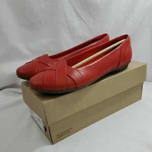 Clarks Womens Gracelin Mia Red Leather Ballet Flats Size 9.5 M 261509184070 New $22.90