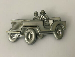 Vintage Army Jeep Plastic Pin or Sweetheart Brooch Silver Color $20.00