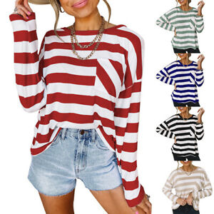 Womens Crew Neck Long Sleeve Striped T Shirt Top Baggy Pocket Pullover Blouse US