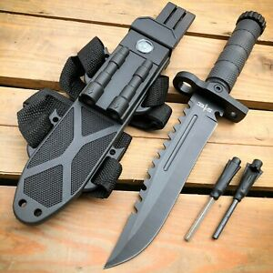 12.5 MILITARY Hunting TACTICAL FIXED BLADE SURVIVAL Army Knife w Fire Starter $15.95