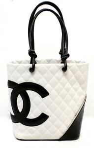 Chanel Calfskin Quilted Medium Cambon Tote Shoulder Handbag Black and White $1495.00