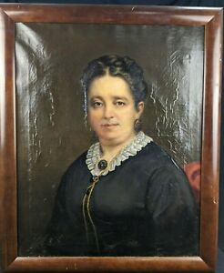 Antique 19th Century American School Oil Canvas Portrait Of A Distinguished Lady $318.00