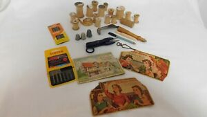 Lot of Vintage Sewing Thread Spools amp; Misc Sewing Items and Needles $2.00