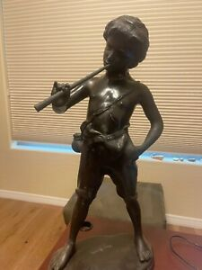 Auguste Moreau Bronze Depicting boy with flute signed on base 26 1 2quot;