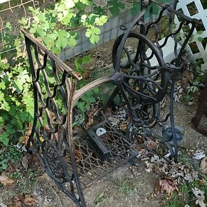 Antique Singer Treadle Sewing Machine Cast Iron Base Stand Table Shabby Chic. $189.24