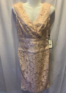 NWT Adrianna Papell Pink Overlay Lace Double V Sheath Party Dress 4 NEW $159 $75.00