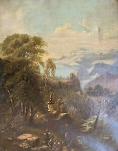 Antique 19th Century Continental Oil On Canvas Landscape Italian French $228.00