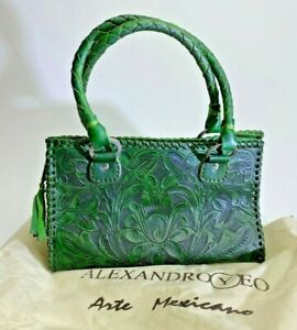 Alexandro Yeo Green Leather Hand Made Bag Purse Charity Artsy Mexico Arte DS71 $124.99