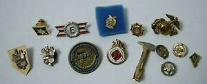 Lot Mixed Old Vintage amp; Antique Military Fire Fighter Pins Eagle Marine Cross $24.99