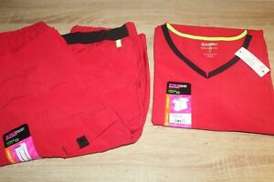 NWT ScrubStar Scrubs Womens Active V Neck Top amp; Pull On Pant in Ruby Gem