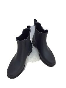 J Crew Womens Rubber Stretch Flats Pull On Ankle Rain Boots Black Size 8