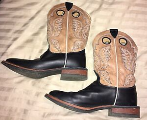 Men#x27;s Justin Boots Size 9 1 2 D BR371 Round Toe Pull on Black amp; Tan