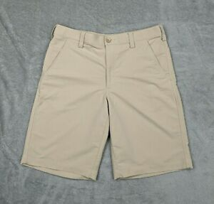 Under Armour Golf Shorts Khaki Chino Flat Front 11quot; Inseam Mens Size 34 $24.99