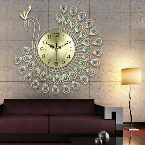 21quot; Luxury Peacock Large Wall Clock Modern Wall Watch Home Decor Fla $44.52