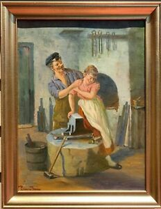 Danish Antique oil painting on canvas Blacksmith Couple Signed Framed $340.00