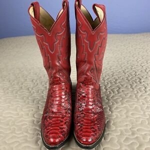 Justin Cowboy Boots Red Python Snakeskin amp; Red Leather Mens sz 9 D J8113 Rare