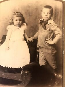 Lot 2 Antique Photographs Cabinet Cards of Children Beautiful Clothing $17.50
