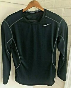 Nike Pro Combat Compression Fitted Dri Fit Shirt Long Sleeve Black Mens Size M $12.95