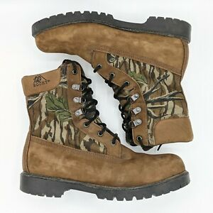 Rocky Men#x27;s Size 11 MW Hunting Boots Brown Camo Lace Up Leather Made in USA