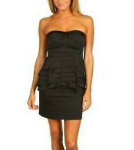 NEW BCBG MAX AZRIA BLACK AURELIA SATIN RUFFLE TIERED STRAPLESS CIZ6O600 DRESS 4P