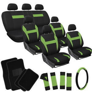 26pc Complete Green Black SUV Auto Seat Cover Set Wheel + Belt Pads + Floor Mats