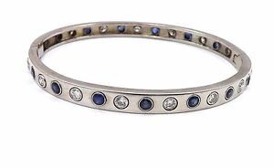 14k White Gold 3.2ctw Sapphire Diamond Burnish Set Bangle Bracelet 22.8gr NICE!