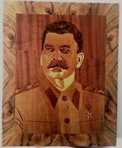 STALIN - HISTORICAL WOOD INLAY PORTRAIT DEMANDED BY GENERAL USSR ARMY IN 1974.