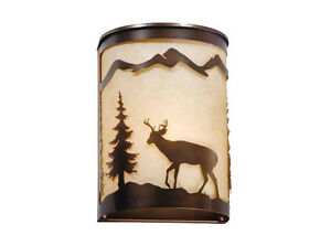 Deer Bryce Burnished Bronze Scone Sconce 8 Inch Vaxcel Wall Fixture WS55408BBZ