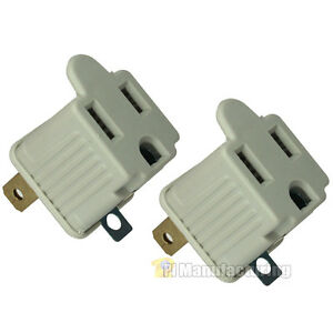 Two Pack Retail - 2 Prong to 3 Prong Grounded Wall Electrical Adapter, UL Listed