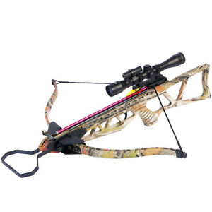 180 lb Camouflage Hunting Crossbow Bow 4x20 Scope 7 Arrows Bolts 150 80 50