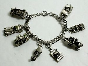 Vintage 925 Sterling Silver Charm Bracelet & 8 Charms~Cars~Train~Camera~FABULOUS