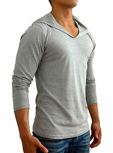 NEW MENS PLAIN GREY HOODED V NECK LONG SLEEVE T SHIRT SLIM FIT GYM CASUAL SPORT