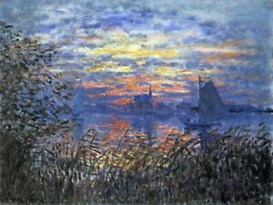 Sunset on the Seine by Claude Monet Giclee Fine Art Print Repro on Canvas