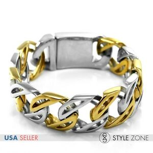 Men's Hollow Golden & Silver Stainless Steel Bracelet Rock Punk O Link Chain B19