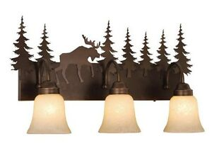 Moose Bronze Sconce Wall Vaxcel Lighting Rustic Yellowstone 3L Vanity VL55603BBZ