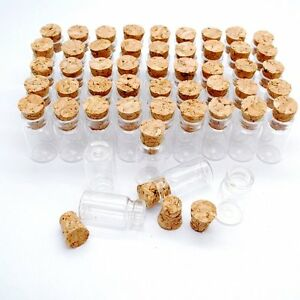 LOT of 50 small glass vials with cork tops 2 ml tiny bottles Little empty jars
