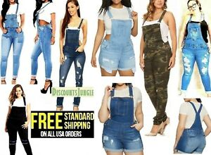 WOMENS Junior PLUS BLUE JEANS Shortall Overall Distressed Stretch Skinny Jumper