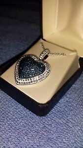 Platinum Over Bronze Blue Crystal Heart Pendant Necklace