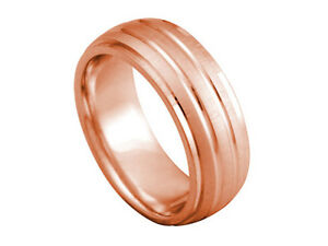 18K ROSE GOLD DOME GROOVED CUT 8mm COMFORT FIT WEDDING BAND RING MEN WOMEN