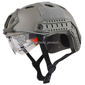 Emerson Tactical Airsoft Paintball Fast Helmet PJ Type w Protective Goggles FG